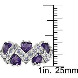 Sterling Silver Amethyst and Tanzanite Ring - Thumbnail 2