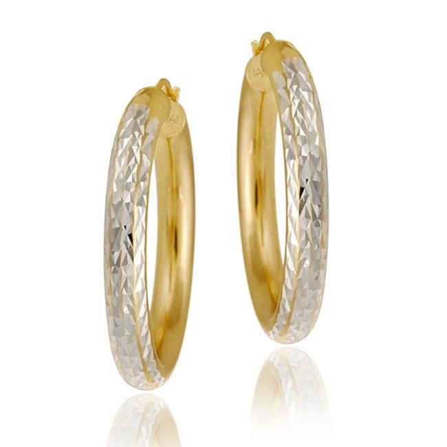 Mondevio 18k Yellow Gold over Sterling Silver Diamond-cut Hoop Earrings