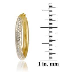 Mondevio 18k Yellow Gold over Sterling Silver Diamond-cut Hoop Earrings - Thumbnail 2