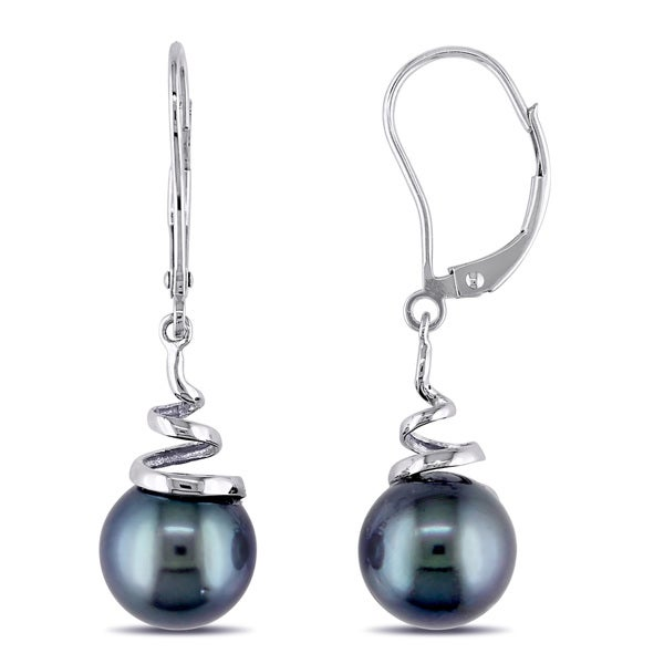 Miadora 14k Gold Tahitian Pearl Leverback Earrings (8-9 mm)