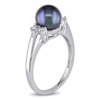 Miadora 14k Gold Tahitian Cultured Freshwater Pearl and 1/5ct TDW Diamond Ring (7-7.5 mm)