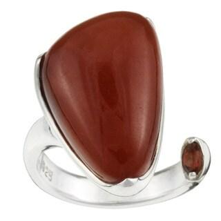 Kabella Sterling Silver Freeform Triangular Red Jade Ring