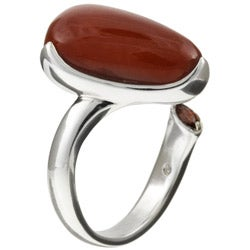 Kabella Sterling Silver Freeform Triangular Red Jade Ring