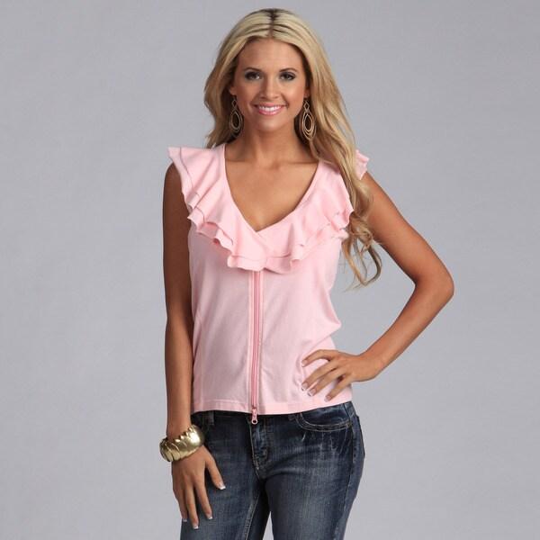 Yogacara Women's Pink Sporty Ruffled Vest