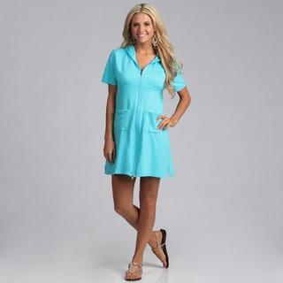 Yogacara Women's Short Turquoise Hooded Dress