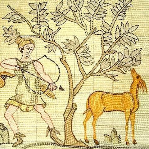 Mosaic 'Hunting Scene' 64-tile Ceramic Wall Mural