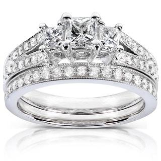 Annello by Kobelli 14k Gold 1ct TDW Princess-cut Diamond Bridal Set