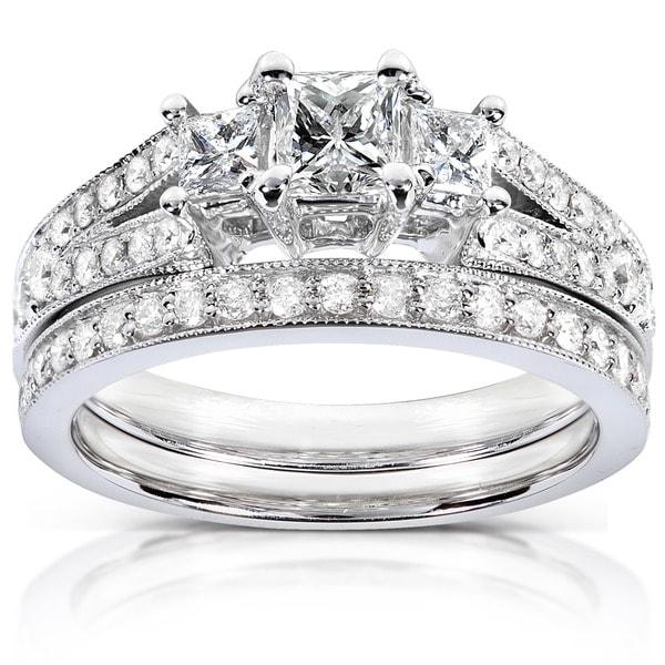 Annello by Kobelli 14k Gold 1ct TDW Princess-cut Diamond Bridal Set by Kobelli
