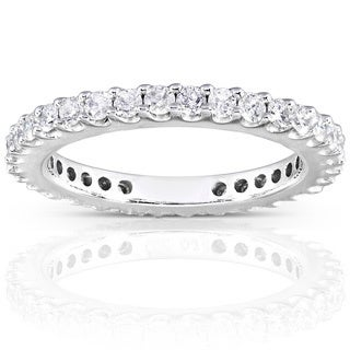 Annello 14k White Gold 3/4ct TDW Round Diamond Eternity Band