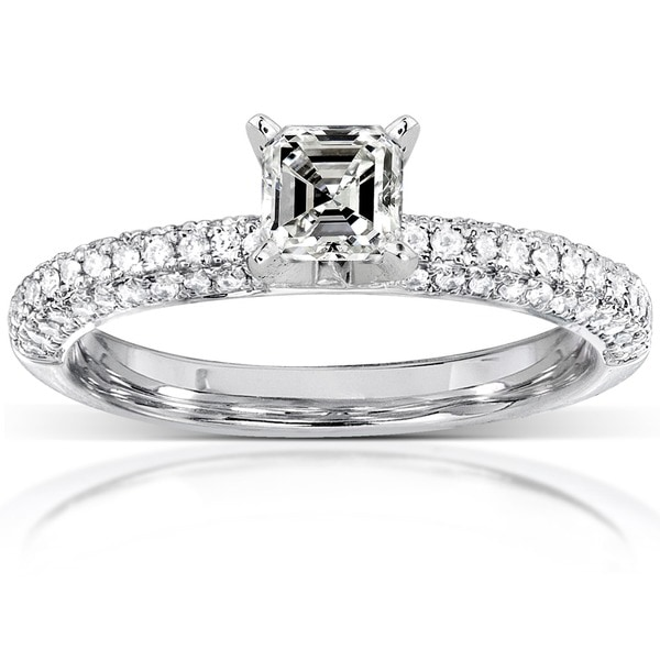 Annello by Kobelli 14k Gold 1/2ct TDW Asscher Diamond Ring