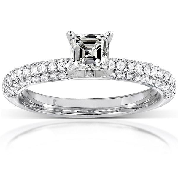 Annello by Kobelli 14k Gold 1/2ct TDW Asscher Diamond Ring (H-I, SI1-SI2)