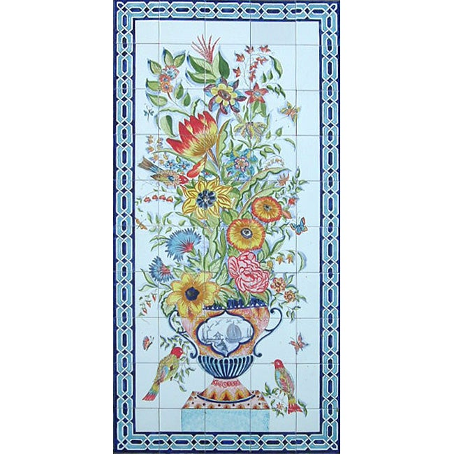 Mosaic 'Floral Birds' 50-tile Ceramic Wall Mural