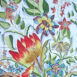 Mosaic 'Floral Birds' 50-tile Ceramic Wall Mural - Thumbnail 1
