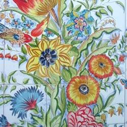 Mosaic 'Floral Birds' 50-tile Ceramic Wall Mural - Thumbnail 2