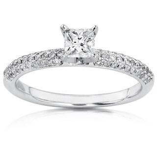 Annello by Kobelli 14k Gold 1/2ct TDW Princess-cut Diamond Engagement Ring