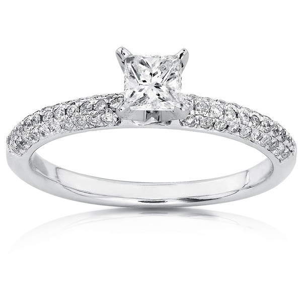 Annello by Kobelli 14k Gold 1/2ct TDW Princess-cut Diamond Engagement Ring (H-I, I1-I2)