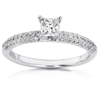 Annello by Kobelli 14k Gold 1/2ct TDW Princess-cut Diamond Engagement Ring