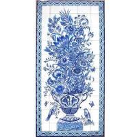 Large Monochromic Design Mosaic 'Floral Birds' Set 50 Ceramic Tile Wall Mural