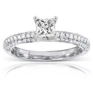Annello by Kobelli 14k White Gold 3/4ct TDW Princess-cut Diamond Engagement Ring (H-I, I1