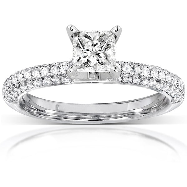 Annello by Kobelli 14k White Gold 1ct TDW Princess Cut Pave Diamond Solitaire Ring by Kobelli (H-I, I1-I2)