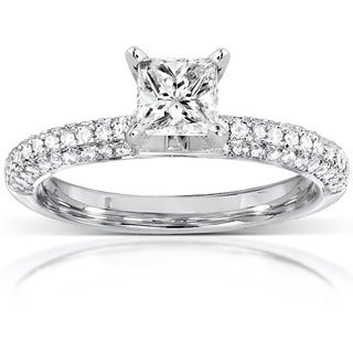 Annello by Kobelli 14k White Gold 1ct TDW Princess Cut Pave Diamond Solitaire Ring (H-I,