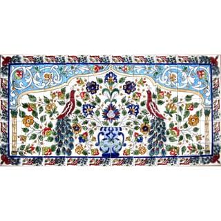 Mosaic 'Horizontal Peacock' 50-tile Ceramic Wall Mural