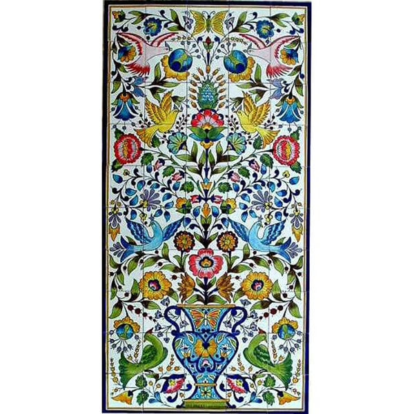Mosaic 'Floral Birds' 50-tile Ceramic Wall Mural. Opens flyout.