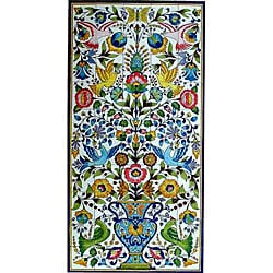 Mosaic 'Floral Birds' 50-tile Ceramic Wall Mural