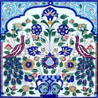 Mosaic 'Floral Birds' 49-tile Ceramic Wall Mural