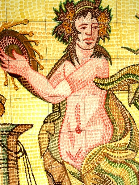 Mosaic 'Roman Diva' 48-tile Ceramic Wall Mural