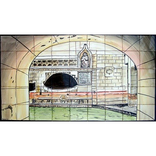 Mosaic 'Roman Caracalla Bath' 45-tile Ceramic Wall Mural - Thumbnail 0