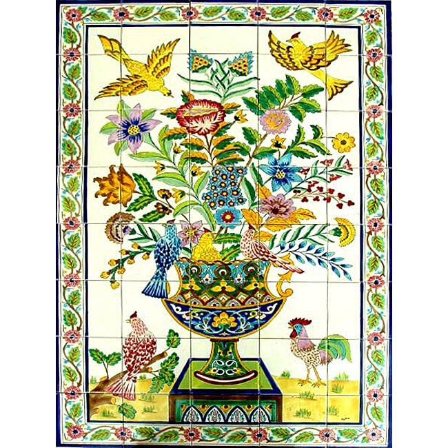 Mosaic 'Rooster' 40-tile Ceramic Wall Mural