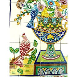 Mosaic 'Rooster' 40-tile Ceramic Wall Mural - Thumbnail 1