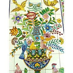 Mosaic 'Rooster' 40-tile Ceramic Wall Mural - Thumbnail 2