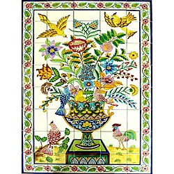 Mosaic 'Rooster' 40-tile Ceramic Wall Mural