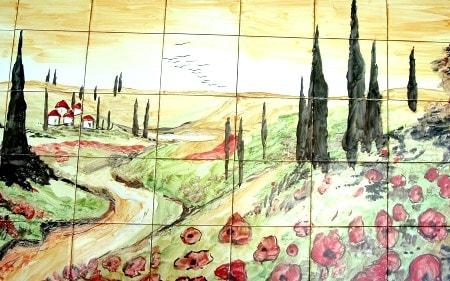 Tuscany Landscape Mosaic Mural Tiles (Set of 40) - Thumbnail 1