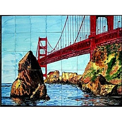 Mosaic 'Golden Gate Bridge' 40-tile Mural