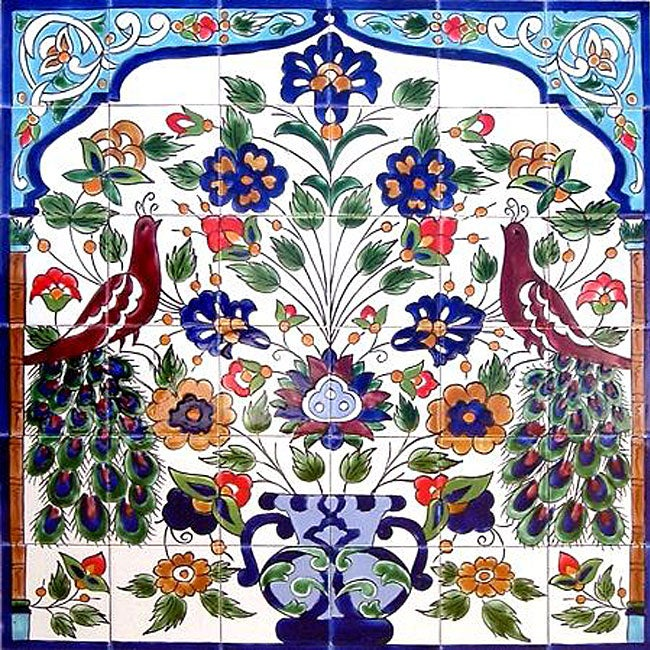 mosaic peacock ceramic 36 tile mural free shipping decorative backsplash 18 tile ceramic wall mural free