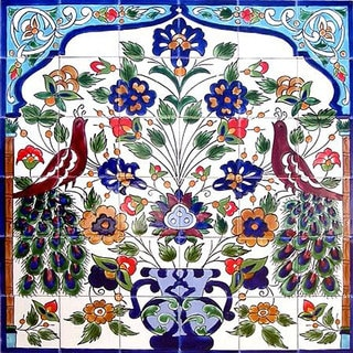 Shop Mosaic Peacock Ceramic 36 Tile Mural Free