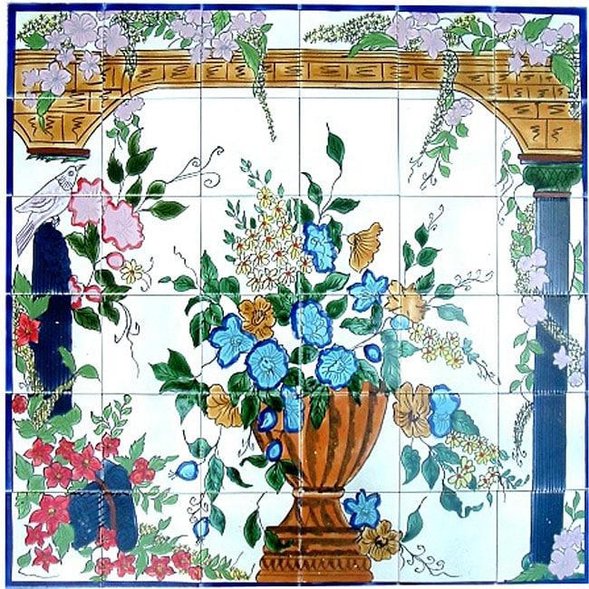 backsplash veranda mosaic ceramic wall tile mural set of pin by sandy ashbaugh on ceramic art inspiration pinterest