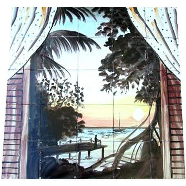 Mosaic Sunset Ocean Balcony View 25-tile Mural