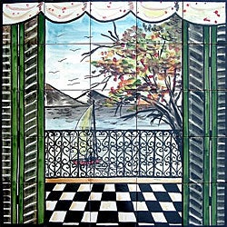 Mosaic Balcony View 25-tile Mural