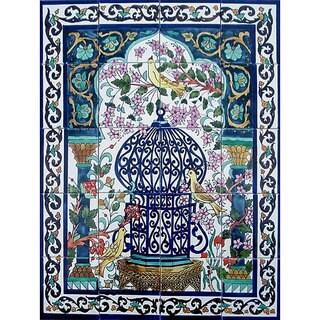 Mosaic 'Family Dove Birds' 20-tile Ceramic Wall Mural