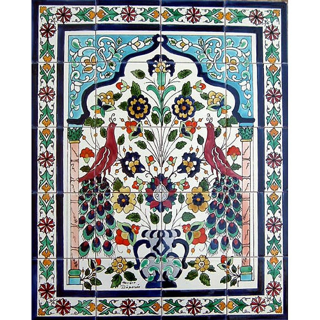 peacock ceramic mosaic 20 tile wall mural free shipping
