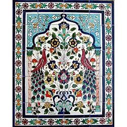 Peacock Ceramic Mosaic 20-tile Wall Mural
