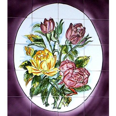 Rose Bouquet Mosaic Wall Mural Tiles (Set of 20)