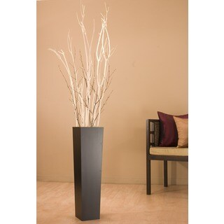 White Mitsumata with Black Branches in Black Vase