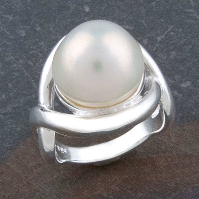Sterling Silver 10-mm Blister Pearl Ring (Thailand)