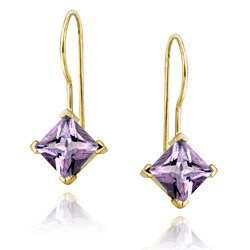 Glitzy Rocks Gold Over Sterling Silver Amethyst Drop Earrings