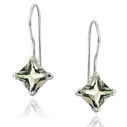 Glitzy Rocks 18k Gold over Sterling Silver Green Amethyst Drop Earrings